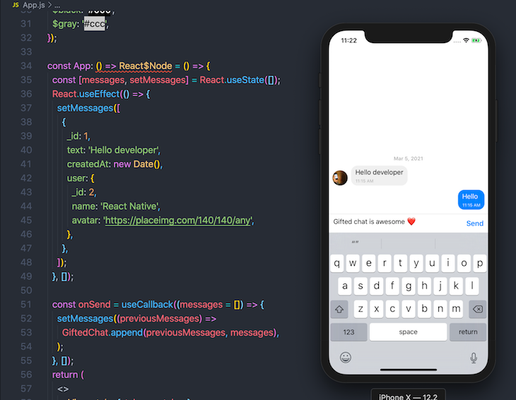 React Native Gifted Chat Install UI Display