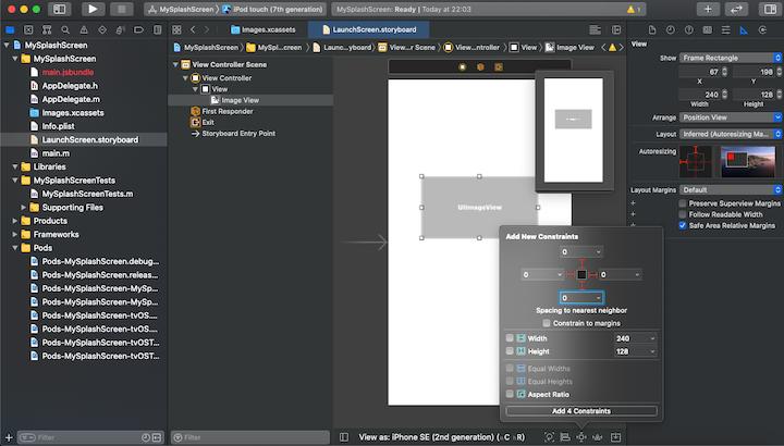 React Native Splash Screen: Editing the Launch Screen