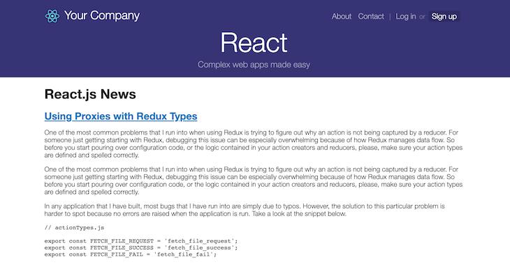 React Starter Homepage