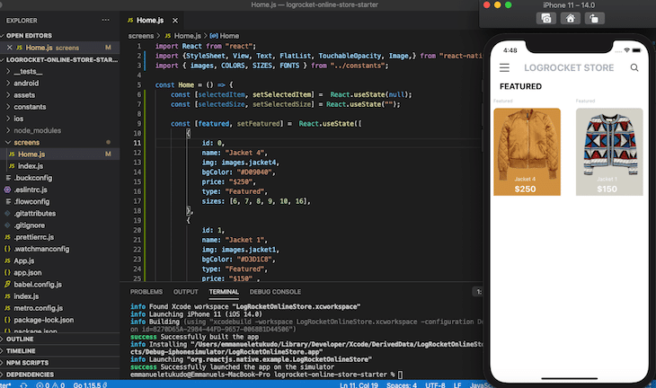 Run Ios React Native App Visual Example