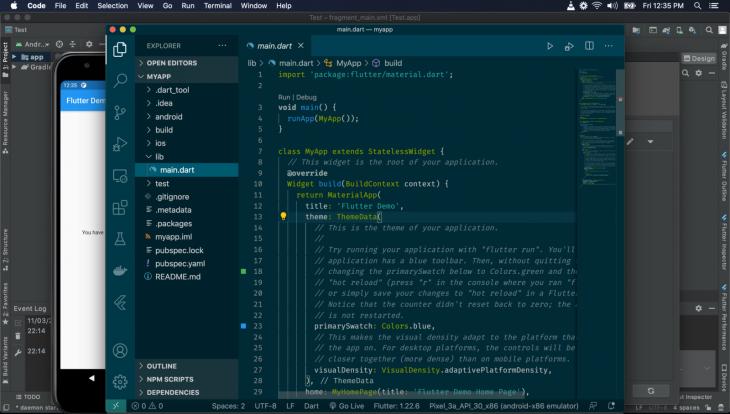 Screenshot of main.dart file in ADV