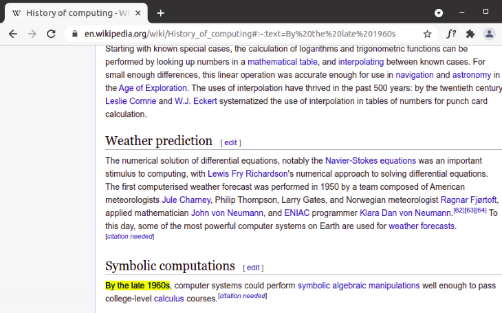 Scroll-to-text Fragment on Wikipedia
