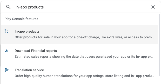 Search In-app Products