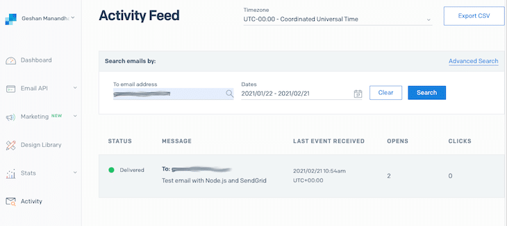 Sendgrid Email Activity Page