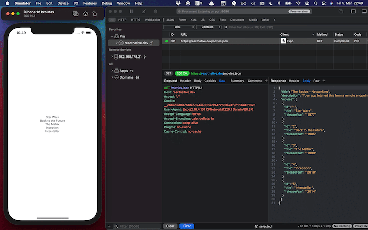 Server Inspected GET Response iOS Simulator