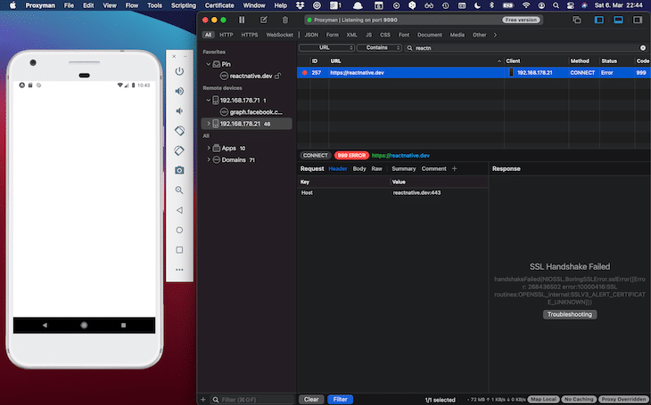 SSL Handshake Problems Expo App Network Call