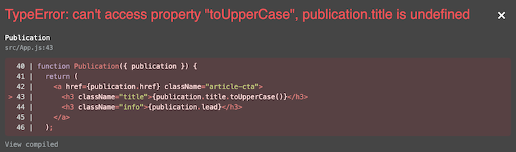 Try Catch JavaScript Error Fail Message