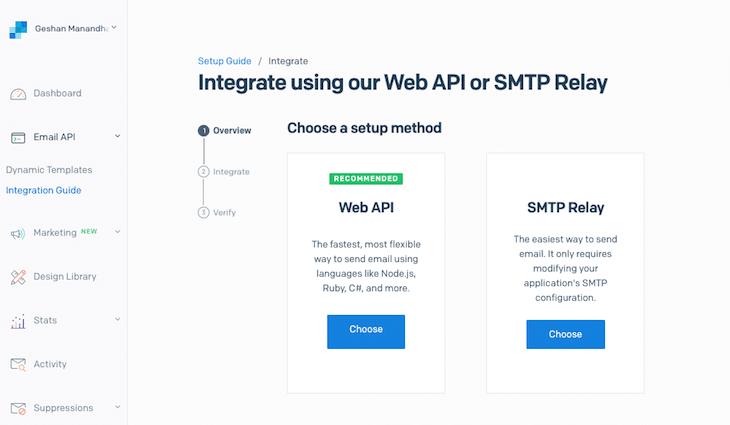 Web API SMTP Relay Setup Method