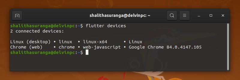 Screenshot of Flutter devices command