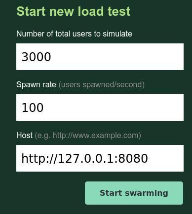 Screenshot of Locust load test