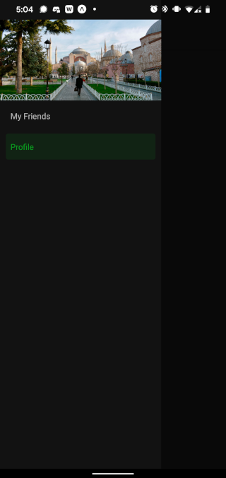Drawer open, showing header image, dark mode