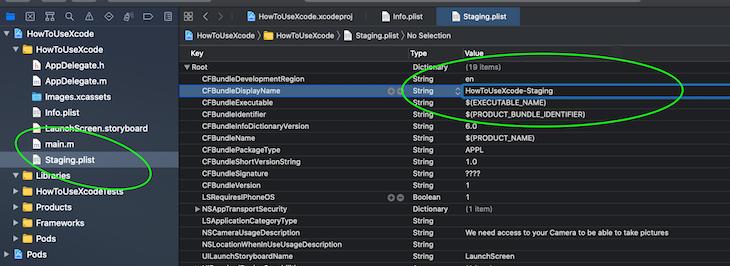 Change App Display Name In Staging Plist File