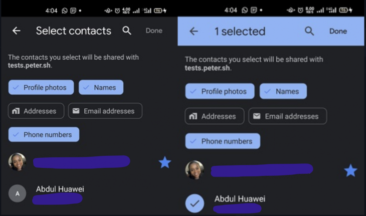 Screen Showing Shared Contacts To Select