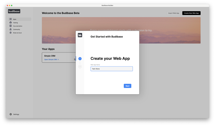 Create New Web App Screen