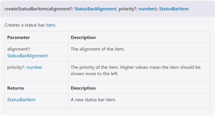 Create Status Bar Item