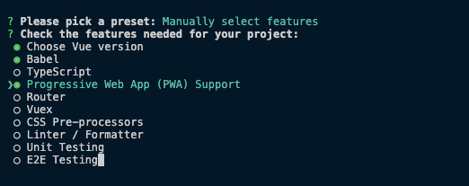 Creating New PWA Project in Vue CLI