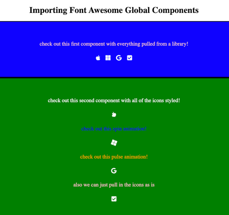 Font Awesome Global Component Import