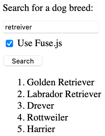 Fusejs Search Results Query
