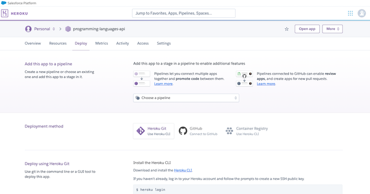 Heroku Github Connect Programming Languages Repo