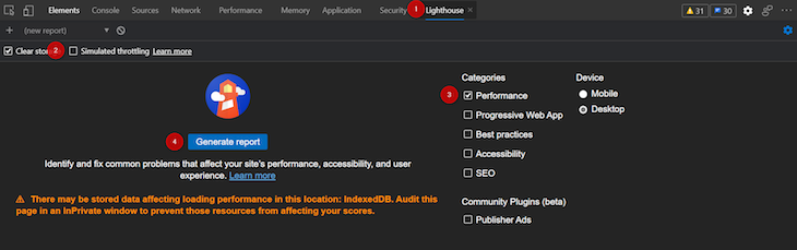 Lighthouse Tab Disable Simulated Throttling Generate Report