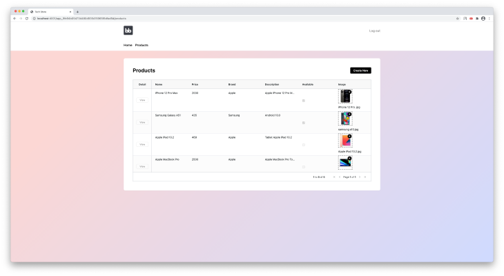 Products List Screen