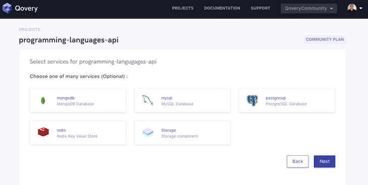 Qovery Database Selection Screen