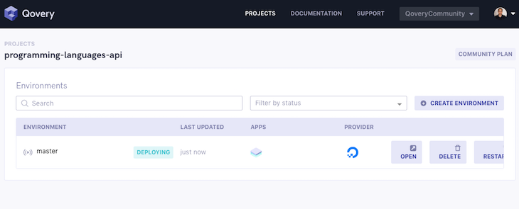 Qovery Go To Project Status Deploying