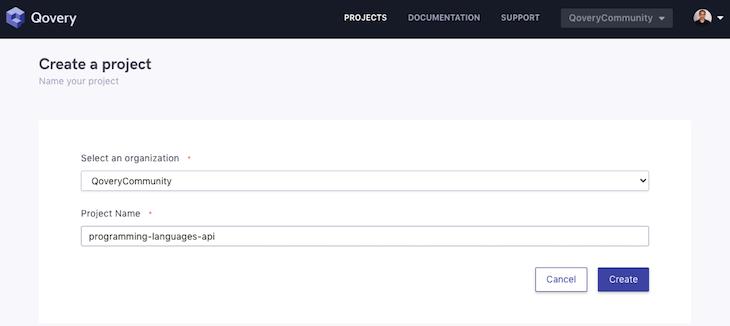 Qovery UI Create New Project Screen