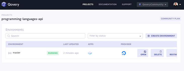 Quovery App Deploying Status Running
