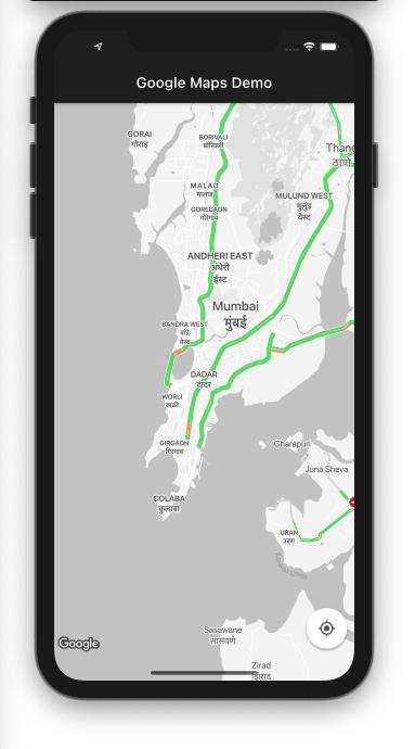 Traffic Mode Enabled Google Map Widget