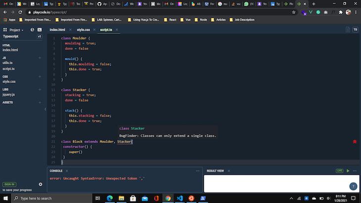 TypeScript Multiple Class Extension Error