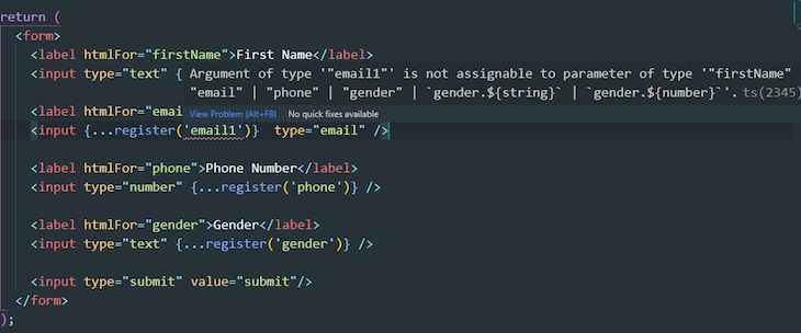 Typescript Register Function Intentional Typo