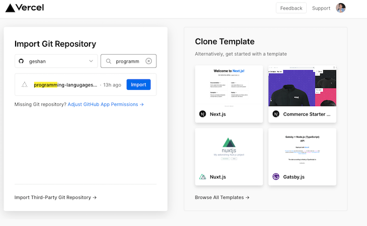 Vercel New Project Homepage Clone Template Import Git Repository