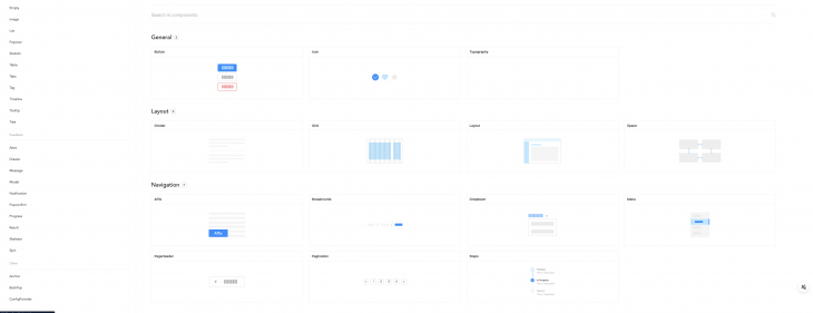 Screenshot of Ant Design Vue