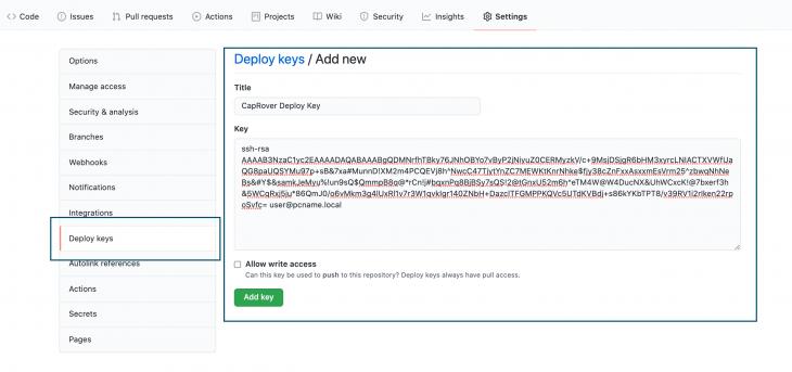 Screenshot of Github Rep on Deploy keys tab