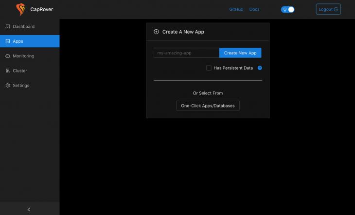 "CapRover ""Create New App"" screen"