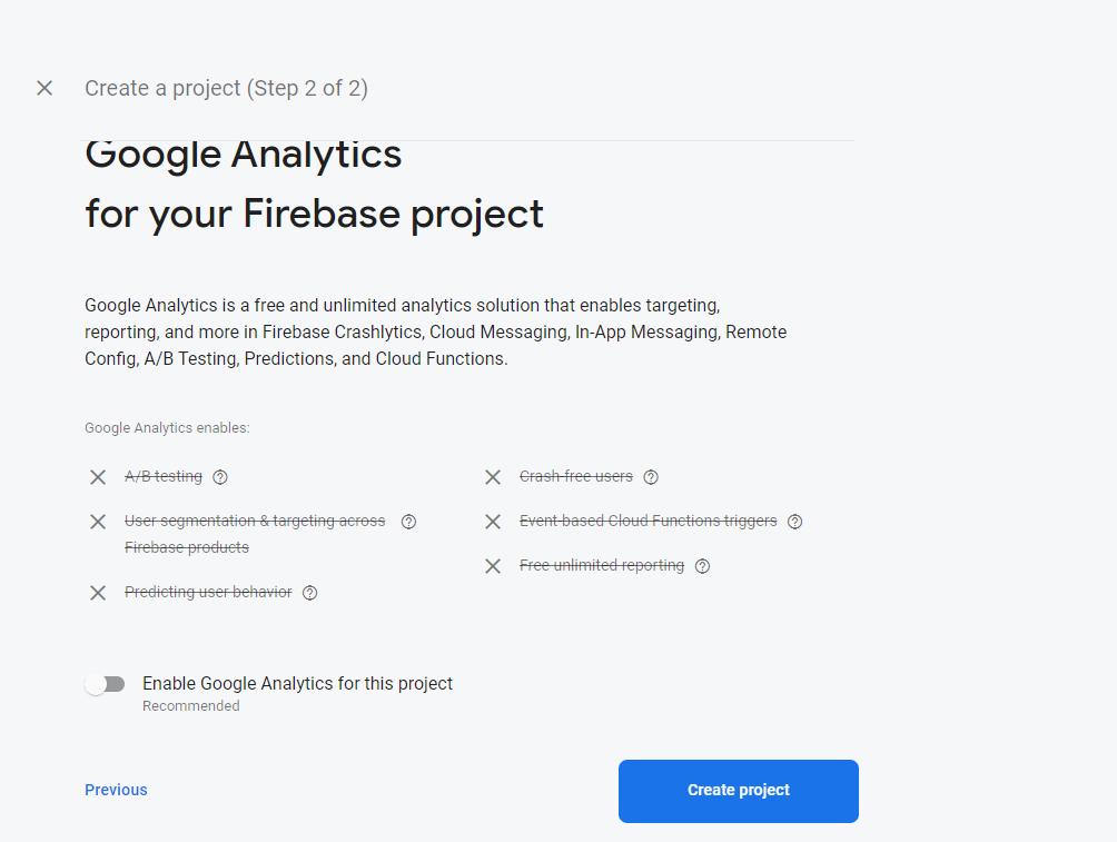 Screenshot of Firebase Create Project screen