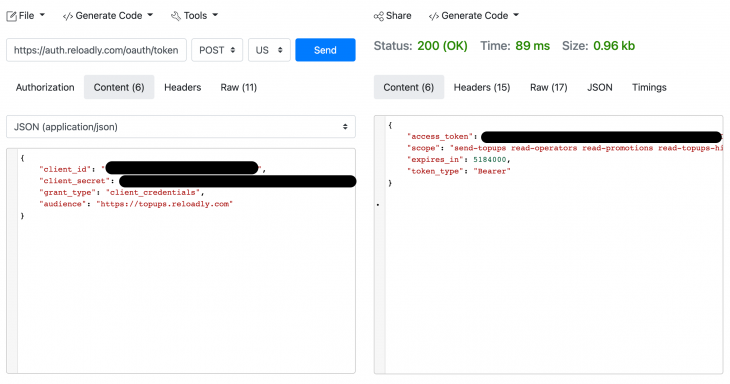 Screenshot of reloadly request
