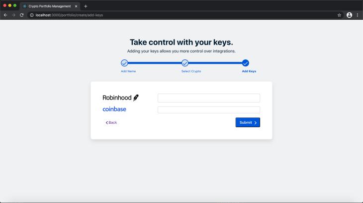 Add Keys Screen