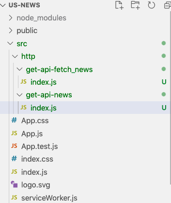 Our App File Structure Highlighting Two New Files in the HTTP Folder