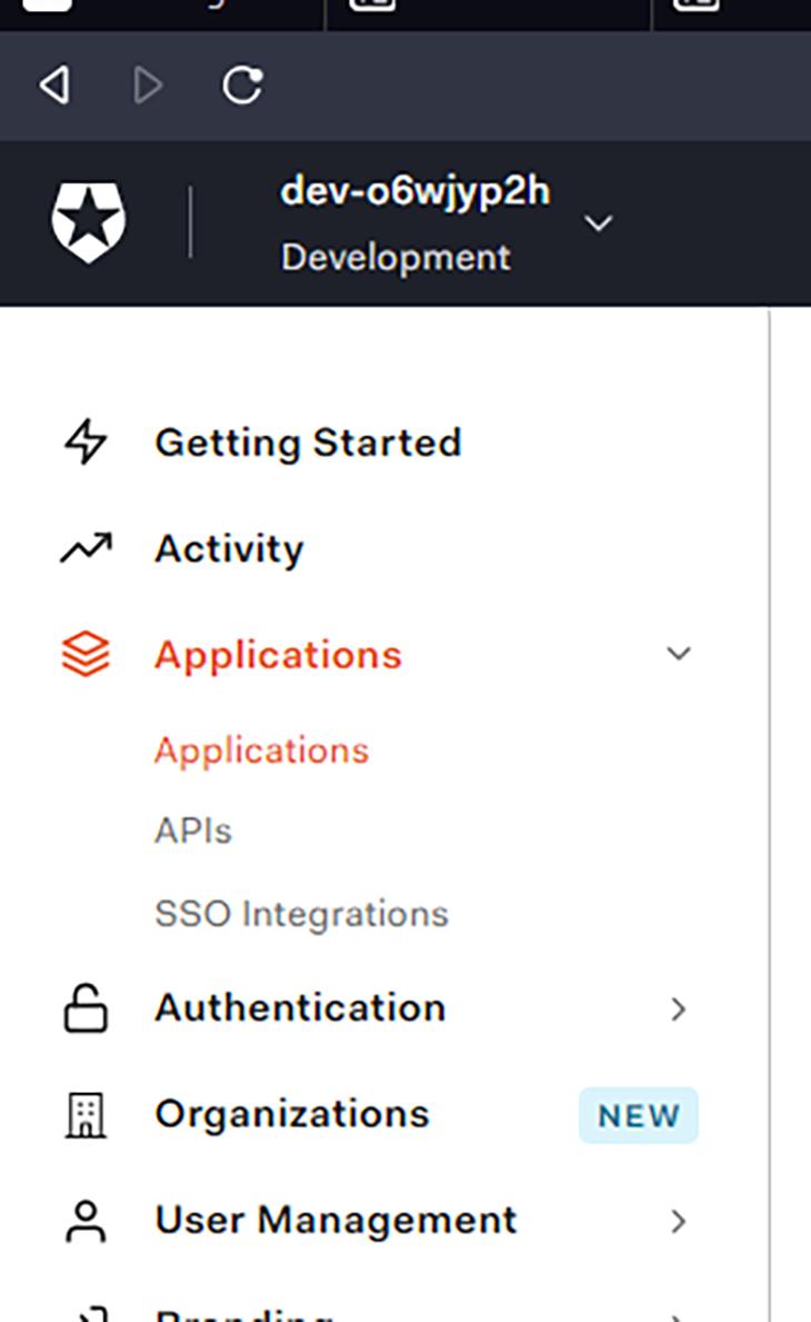 Application menu in Auth0