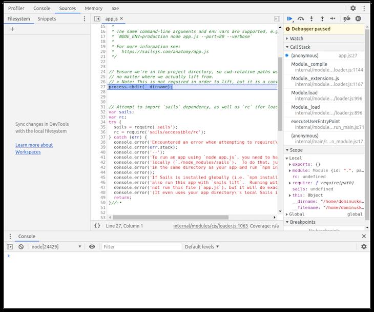 Chrome Developer Tools Debugger