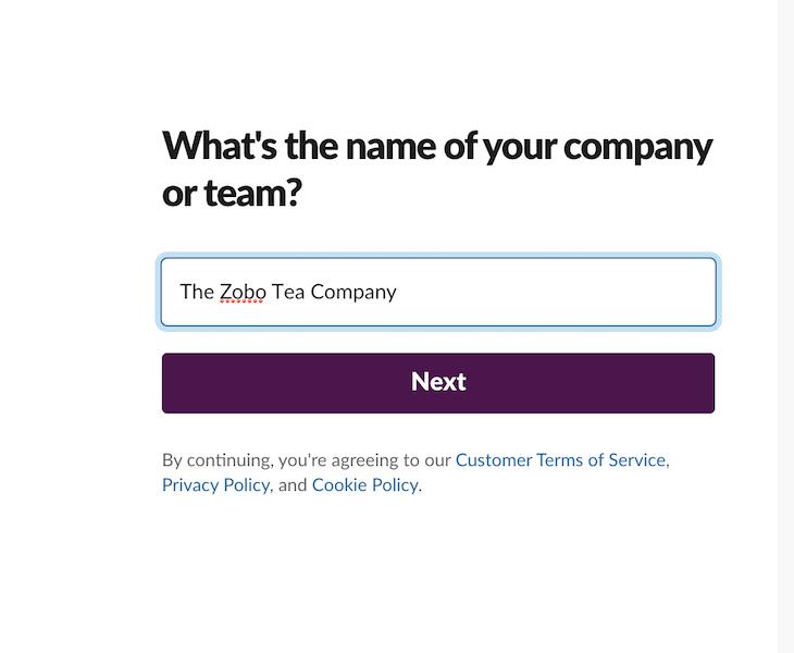 Company Name Slack Screen