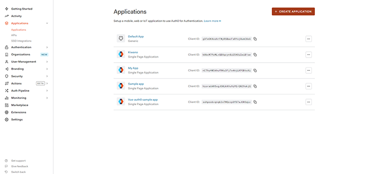 Create your application in Auth0