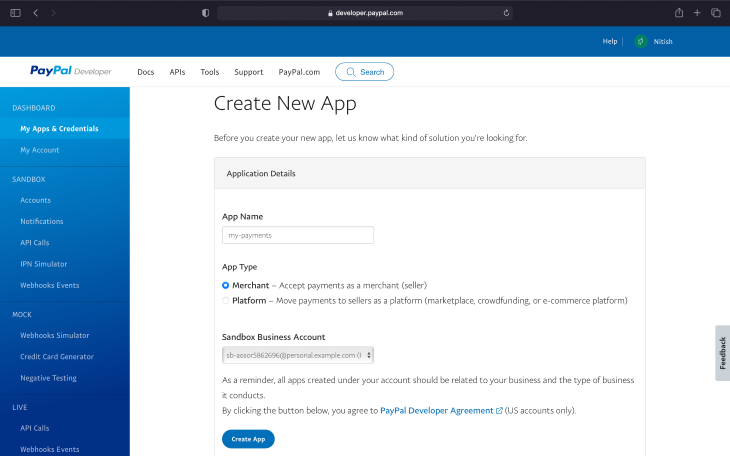 Create New App Page