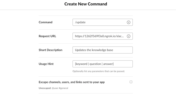 Slack Create New Slash Command