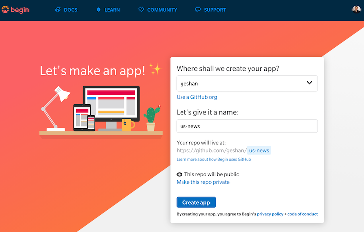 Creating Our Begin App as a GitHub Repo