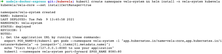 Output After Creating the vela-system Namespace