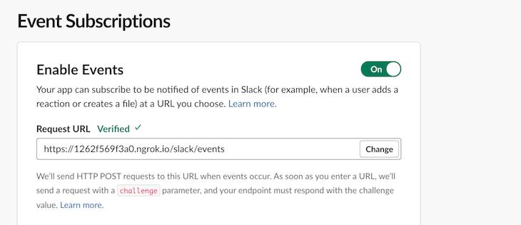 Enable Event Subscriptions Slack