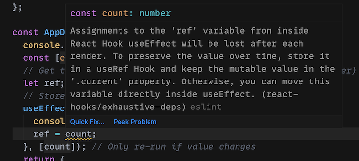 Warning From the ESLint Rules of Hooks Plugin